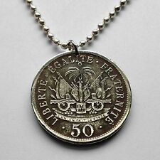 Haiti 50 centimes coin pendant Haitian necklace cannons Port-au-Prince n001374