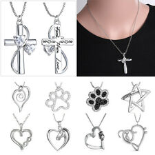 Engraved Heart Horse Footprint Cross Crystal Pendant Necklace Women Lady Jewelry