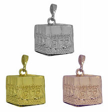 Rose / Gold Plated / Sterling silver Kaaba Mecca Hajj Charm Pillar Islam Allah