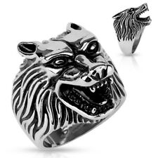 Stainless Steel Men's Heavy Snarling Wolf Head Large Ring Size 9-13