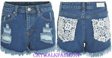 Womens Ladies Crochet Lace Back Pockets Denim High Waisted Hot Pants i16 shorts