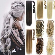 Lady Clip In Ponytail Pony Tail Hair Extension Wrap Around Hair Piece Human Wavy
