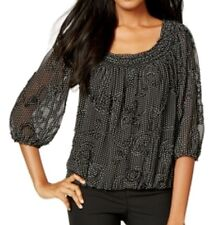 Studio M NEW Black White Women's Size XS Joseline Soutache Blouse $68 #058
