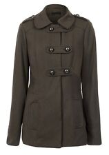 New Womens New Look olive green military wool blend coat size 8 / 18