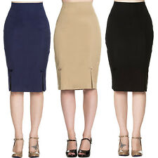 Dancing Days Retro Bow Rockabilly Vintage Fitted Career Wiggle Pencil Skirt UK
