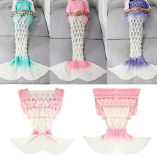 Super Soft Crocheted Mermaid Tail Blanket+Knitting kids&Adult Sofa Sleeping Bag
