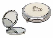 Personalised Silverplated & Crystal Heart  Compact Mirror in Gift Box, Engraved