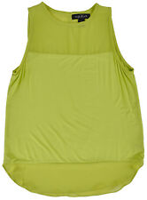 August Silk Tank Top Womens Sheer Authentic Green Summer Shirt Fashion S-XL