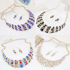 SM Fashion Crystal Chain Statement Bib Pendant Choker Collar Necklace Jewelry