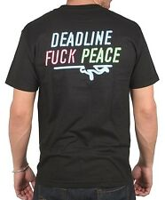 Deadline Mens Black Neon Lights Fuc* Peace Sign Stripper Pole Dancer T-Shirt NWT