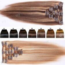 Deluxe Extra Thick Highlight Clip In Remy Human Hair Extensions Full Head USBS14