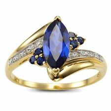 Size 6,7,8,9 Womens Blue Sapphire Gold Filled Engagement Wedding Rings