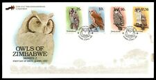 OWLS OF ZIMBABWE SERIES 2 APR 6 1993 CACHET ON FDC WITH INSERT