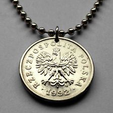 Poland 1 Zloty coin pendant white Polish EAGLE Polska necklace Warsaw n000915