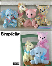Simplicity Pattern 2613 Stuffed Animals Elephant, Giraffe, Pig  Cat New Uncut