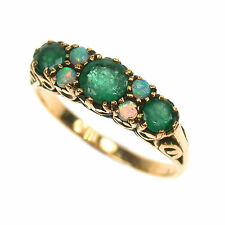 9ct Solid Gold Vintage Insp Emerald & Opal Ring R75 Custom