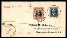Niue to Us Downington PA 1928 Registered Cover With Arrival