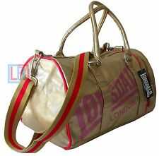 Lonsdale Gold Pink Sports Bag Holdall Gym School Travel Weekends Away FREE POST