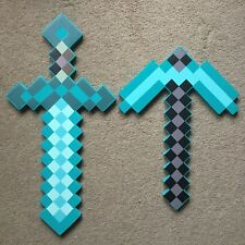 MINECRAFT style Mosiac Large Diamond Blue Sword Pickaxe Set EVA Foam UK Free P&P