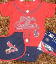 St. Louis Cardinals Newborn Infant Jersey Bib & Bootie Set add any name & number