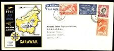 Sarawak 1957 BOAC Map Cachet First Flight cover to London QEII Stamps