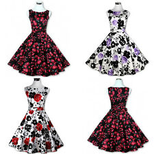 Women Vintage Floral Retro Swing 50s 60s Housewife Rockabilly Pinup Party Dress