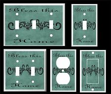 BLESS THIS HOME SCROLL TEAL  LIGHT SWITCH COVER PLATE