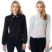 Womens Velvet Polka Dot Pussycat Bow Blouse Ladies Button Up Chiffon Shirt Top