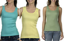Bella Ladies Shirt 2x1 Rib Cotton Tank Top XL Black Pink Yellow Green Teal