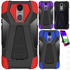 Cricket ZTE Grand X4 Combat Brushed Metal HYBRID Rubber Case Cover +Screen Guard