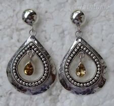 Gemstone Solid Silver, 925 Balinese Teardrop Stud Design Earring 24162