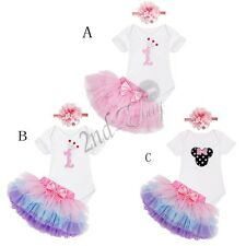 3pc Infant Minnie Clothes Baby Girl 1st Birthday Party Tutu Dress Outfits Romper