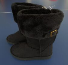 NEW Girl Size *12* or *13* OLD NAVY Black Fur Lined Buckle Boots Faux Suede NWT!