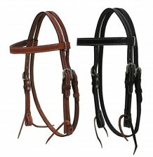 WESTERN PONY SIZE LEATHER HORSE BRIDLE WITH SPLIT RENS IN BLACK OR MEDIUM BROWN