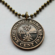 British UK Hong Kong 1 cent coin pendant necklace king George V China n000402