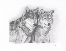 WOLVES Limited Edition art drawing prints 2 sizes A4/A3 & Card Available
