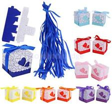 50pcs Romantic Love Heart Wedding Party Favor Gift Candy Boxes with Ribbon Decor