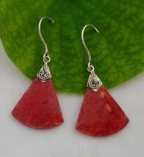 Solid Silver, 925 Balinese Red Coral Design Earring 38996