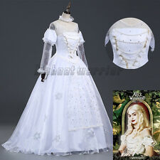 Alice in Wonderland The White Queen Cosplay Costume Fancy Dress Customized Size