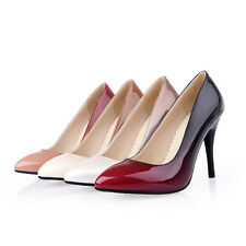New Women's Stilettos Shoes Shiny Synthetic Leather High Heels Pumps Plus Size