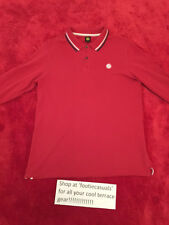 PRETTY GREEN LONG SLEEVED POLO SHIRT-RED-LARGE