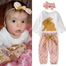 Newborn Baby Girls Long Sleeve Rompers Jumpsuit+Pants+Headband 3pcs Outfits Set