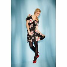 NEW OASIS STRETCHY BLACK/PINK FLORAL DRESS Size XS, S