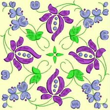Anemone Quilt Squares 2-DESIGN 7-an Anemone Machine Embroidery single in 4 sizes