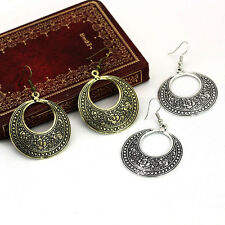 New Fashion Lady Retro Filigree Round Hoop Drop Dangle Earrings Ethnic Statement