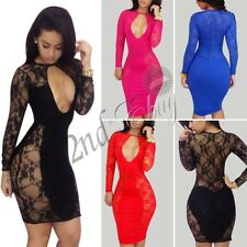 Womens Cut Out Chest Bodycon Cocktail Lace Dress Ladies Evening Party Mini Dress