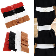 Women Bowknot Bow Tie Elastic Waistband Faux Leather Wide Stretch Waist Belt