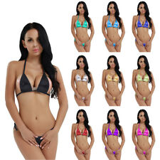 Womens Push-up Swimsuit Swim Dress Bikini Set Swimwear Tankini Bra G-string Top