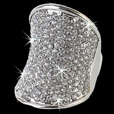 BIG Aurora Borealis SILVER or GOLD Micro Pave Crystal Statement Cocktail Cz Ring
