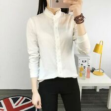 New Womens Ladies Chic Stand Lace Collar Button Down Shirt Blouse Tops Shirt